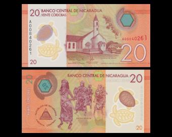 Nicaragua, p-210, 20 cordobas, polymère, 2014