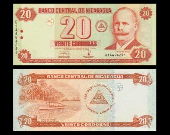 Nicaragua, p-197, 20 cordobas, 2006