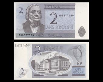 Estonie, P-70a, 2 krooni, 1992