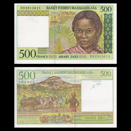 Madagascar, P-75b, 500 francs, 1994, SUP/ExtFine