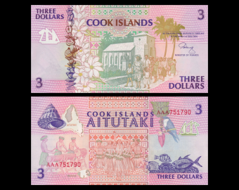 Cook Islands, P-7, 3 dollars, 1992