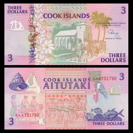 Iles Cook, P-7, 3 dollars, 1992