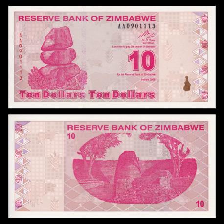 Zimbabwe, P-94, 10 dollars, 2009