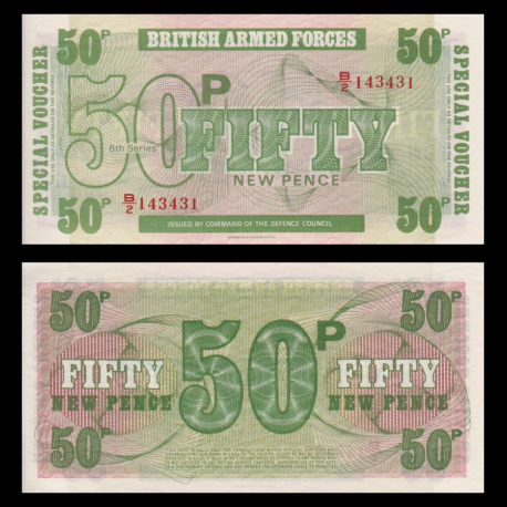 British Armed Forces, p-M49, 50 new pence, 1972