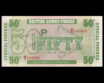 Angleterre, British Armed Forces, P-M49, 50 new pence, 1972