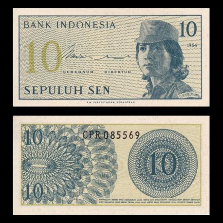 Indonésie, P-092, 10 sen, 1964