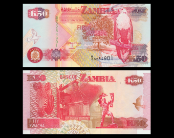 Zambie, P-37b, 50 kwacha, 1992