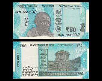 India, P-new, 50 rupees, 2017
