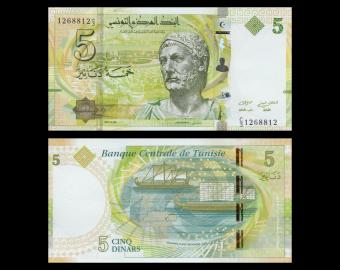 Tunisie, P-95, 5 dinars, 2013
