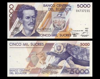 Equateur, p-128c, 5000 sucres, 1999