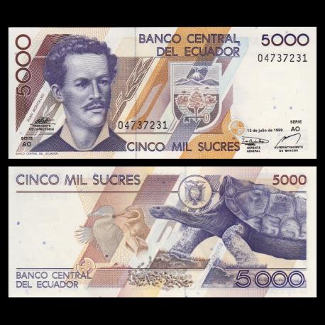 Ecuador, p-128c, 5000 sucres, 1999