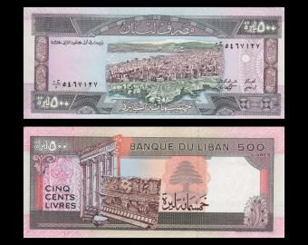 Lebanon, P-68, 500 livres, 1988