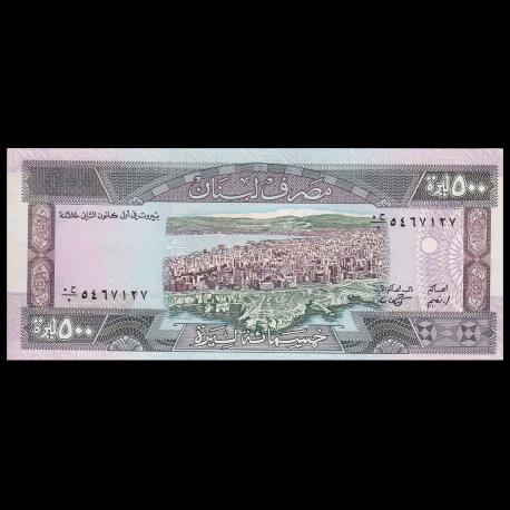 LEBANON 500 LIVRES 1988 P 68 UNC