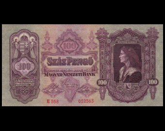 Hongrie, p-98, 100 pengö, 1930