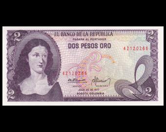 Colombia, P-413b, 2 pesos oro, 1977