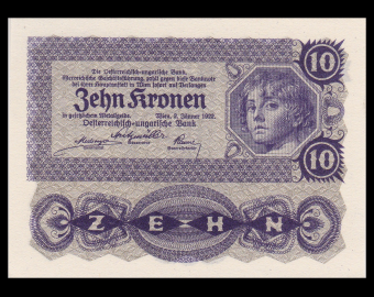 Austria, P-75, 10 kronen, 1922