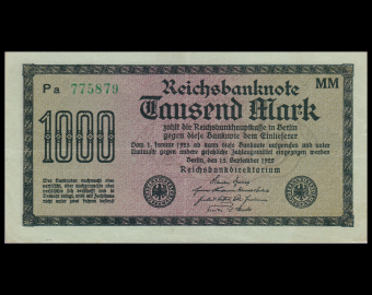 Germany, P-76g, 1000 Mark, 1922, SUP / Extremely Fine