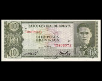 Bolivie, P-154, 10 pesos bolivianos, L1962