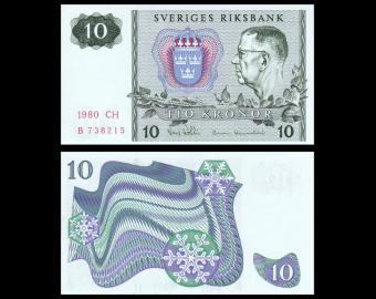 Sweden, p-52e, 10 kronor, 1980