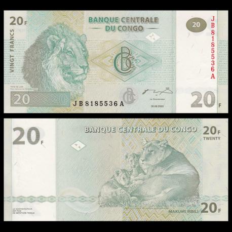 Congo, P-94A, 20 francs, 2003