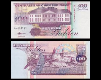 Suriname, P-139b, 100 gulden, 1996