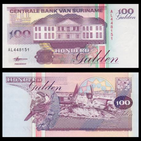 Suriname, p-139b, 100 gulden, 1998