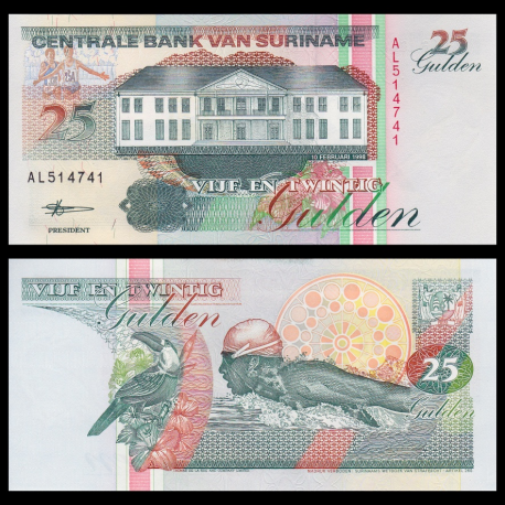 Suriname, p-138d, 25 gulden, 1998