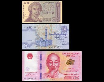 Lot 3 banknotes : Croatia Egypt Vietnam