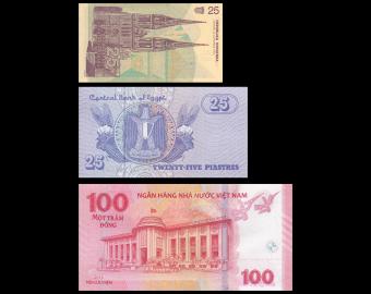 Lot 3 billets de banque : Croatie Egypte Vietnam