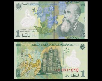 Roumanie, p-117i, 1 leu, polymère, 2014