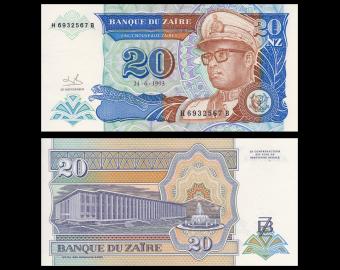 Zaire, P-56, 20 nouveaux zaïres, 1993