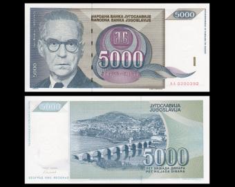 Yugoslavia, P-115, 5000 dinara, 1992