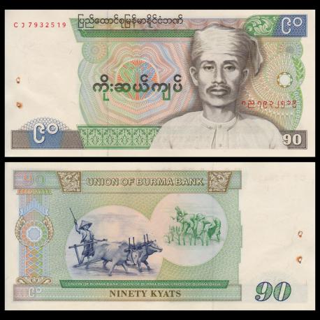 Burma, P-66, 90 kyats, 1987