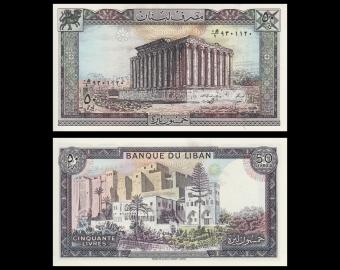 Lebanon, P-65d, 50 livres, 1988