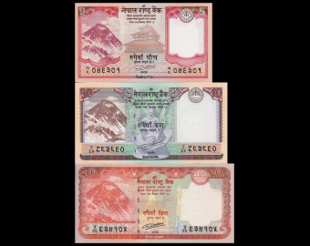 Nepal, Serie 3 banknotes : 5+10+20 rupees 2016-17