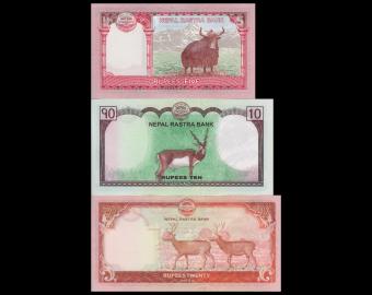Nepal, Série 3 billets : 5+10+20 roupies 2016-17