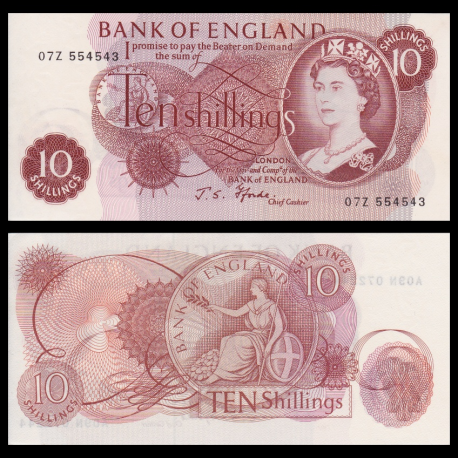 Angleterre, P-373c, 10 shillings, 1970