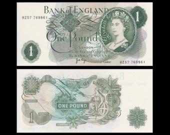 Angleterre, P-374g, 1 pound, 1977