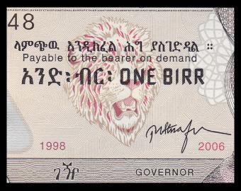 Ethiopie, P-46d, 1 birr, 2006