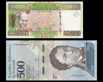 Lot 2 banknotes of 500 : Guinea Venezuela