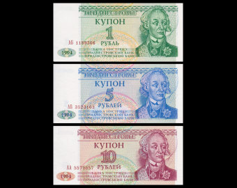 Transnistrie, lot 3 billets banque, 1994