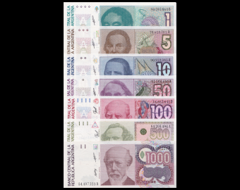 Argentina, serie of 10 banknotes, 1985-91