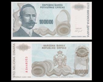 Bosnia and Herzegovina, P-154, 100 000 000 dinara, 1993