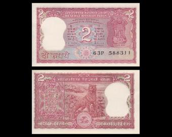 Inde, P-53Ac, 2 roupies, 1985-90