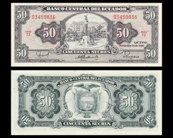 Ecuador, P-122b, 50 sucres, 1988