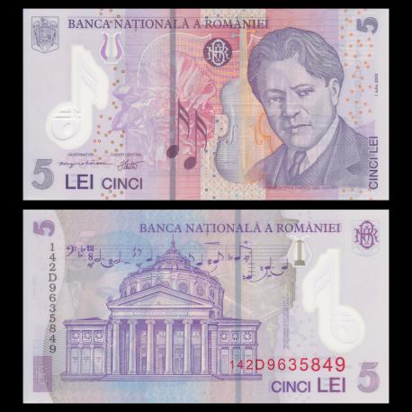 Roumanie, p-118g, 5 lei, Polymer, 2014