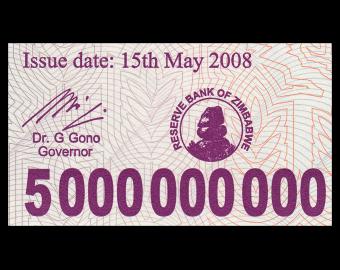 Zimbabwe, P-061, 5.000.000.000 dollars, 2008