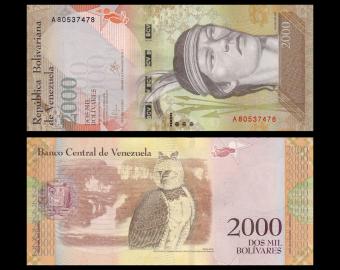 Venezuela, p-96a, 2000 bolivares, 2016
