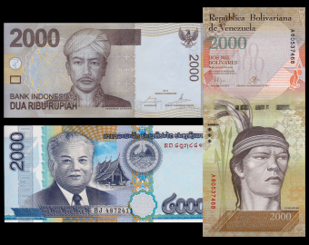 Lot 3 banknotes of 2000 : Indonesia Laos Venezuela