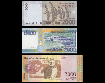 Lot 3 billets de 2000 : Indonesie Laos Venezuela